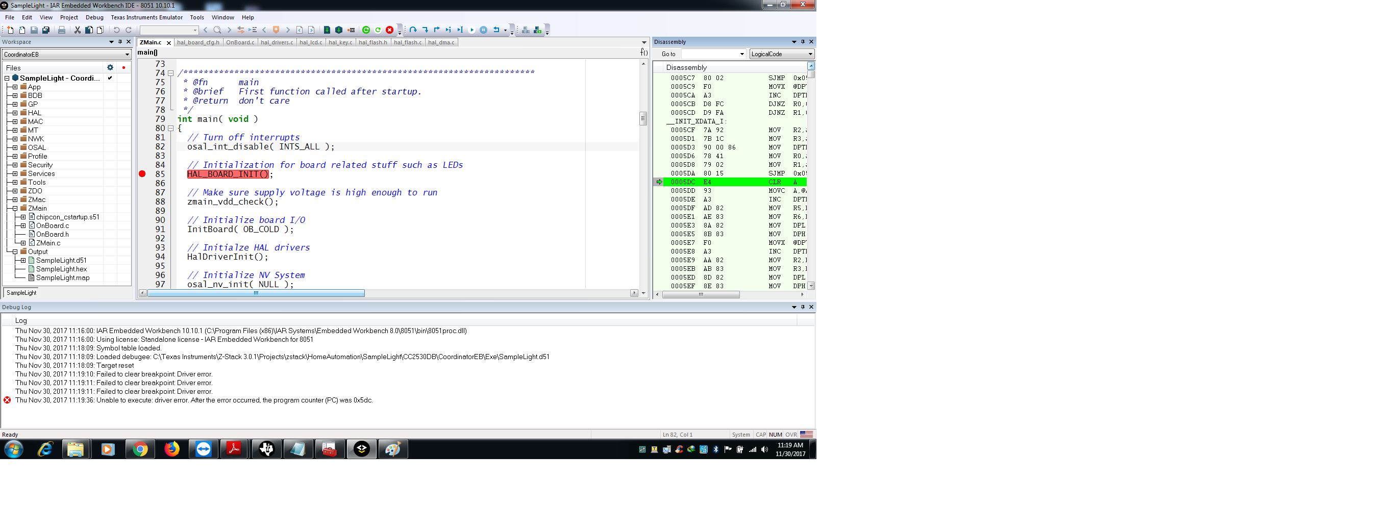CC2530EM: not debugging in IAR IDE 10 10 1 - Other wireless