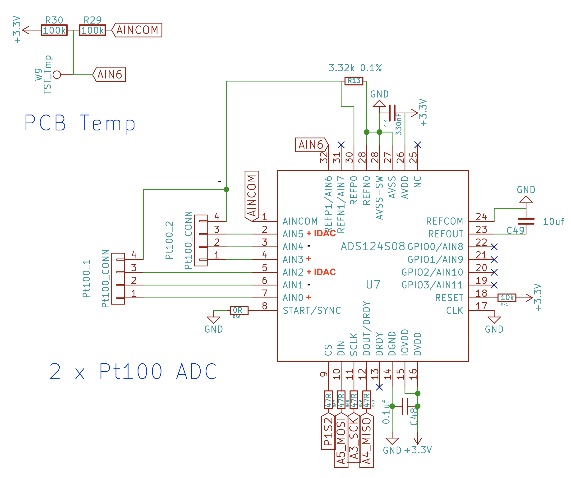 Red wires are connected to AIN0 and AIN2 for the first RTD. Red wires are  connected to AIN3 and AIN5 for the second RTD. R29 is a 100k thermistor  that ...