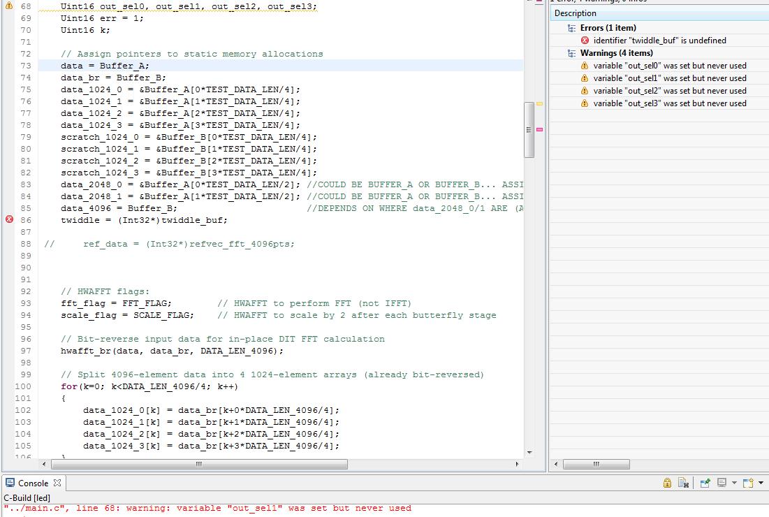 CCS/TMS320C5535: Computation of 4096 FFT, error