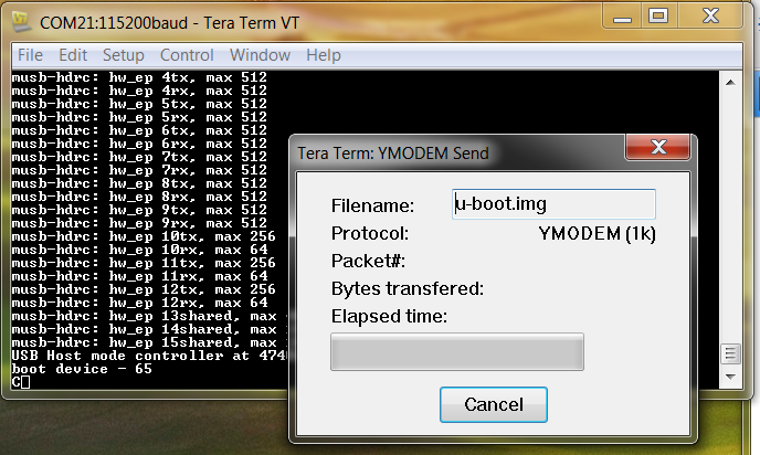 Cannot load u-boot img with ymodem - Processors forum