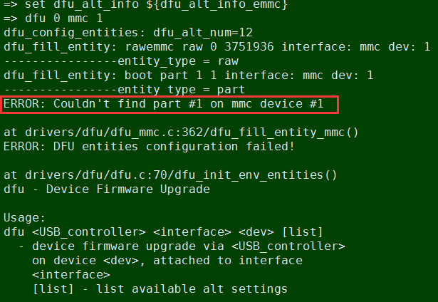 Resolved] Linux/DRA725: DFU flash the emmc about partition