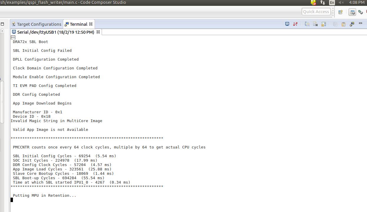 Resolved] RTOS/TDA2EVM5777: QSPI Flash based SBL & APP