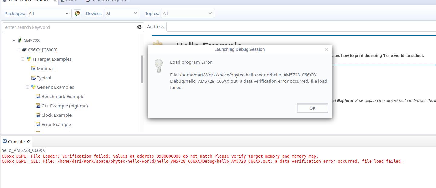 Resolved] Compiler/TI-RTOS-PROC: Loading a Resource Explorer