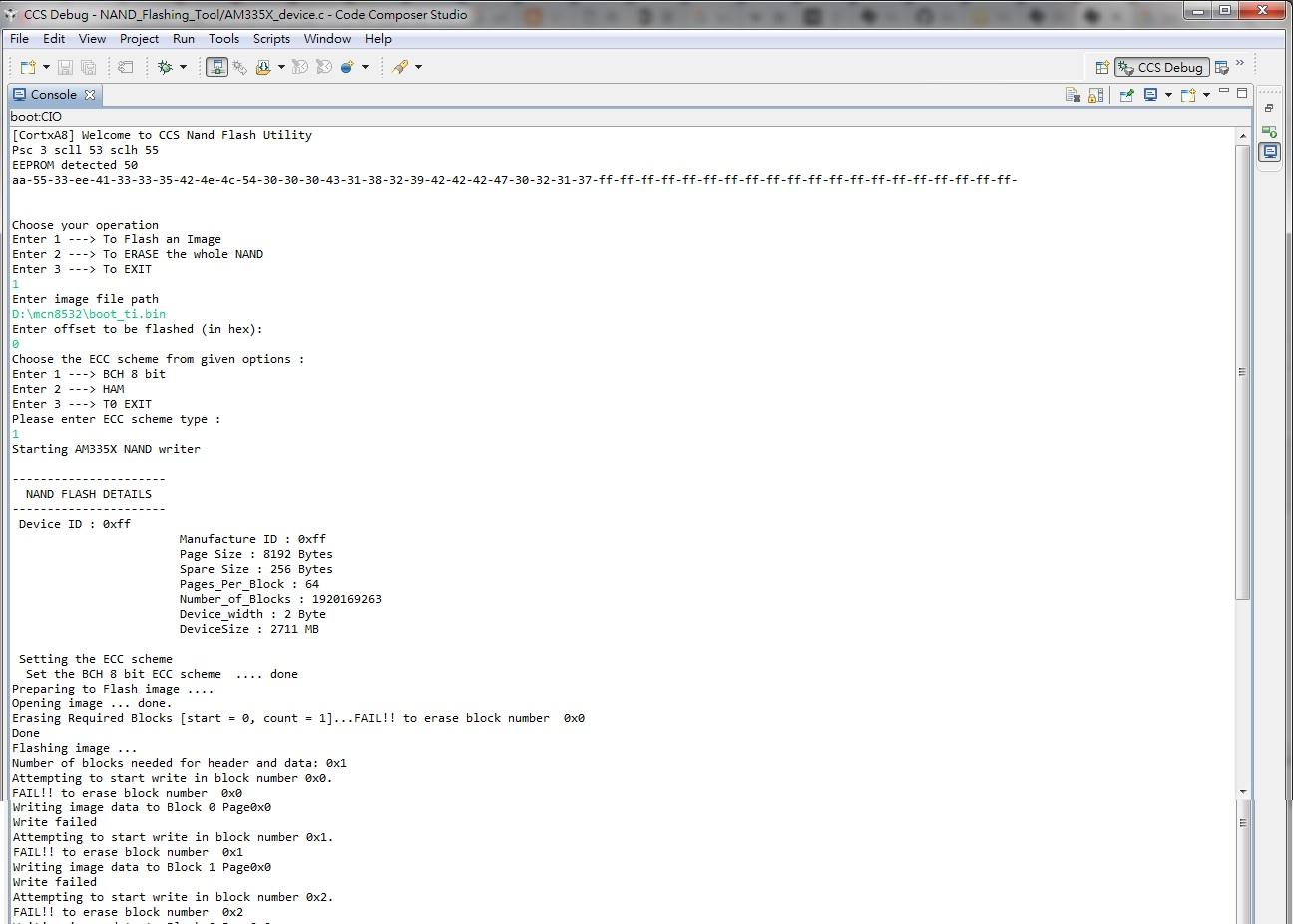 CCS/BEAGLEBK: Beaglebone black NAND programming error - Processors