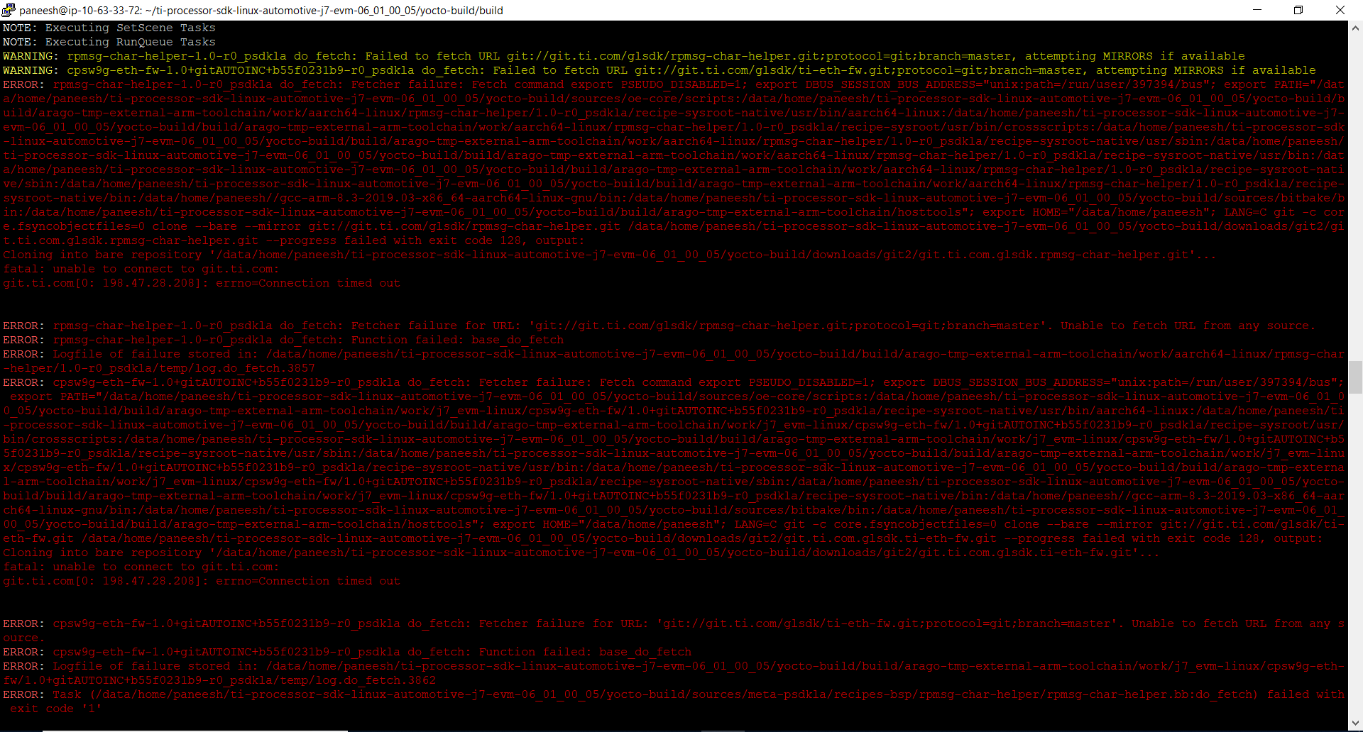 Errors in yocto build   Processors forum   Processors   TI E20E ...