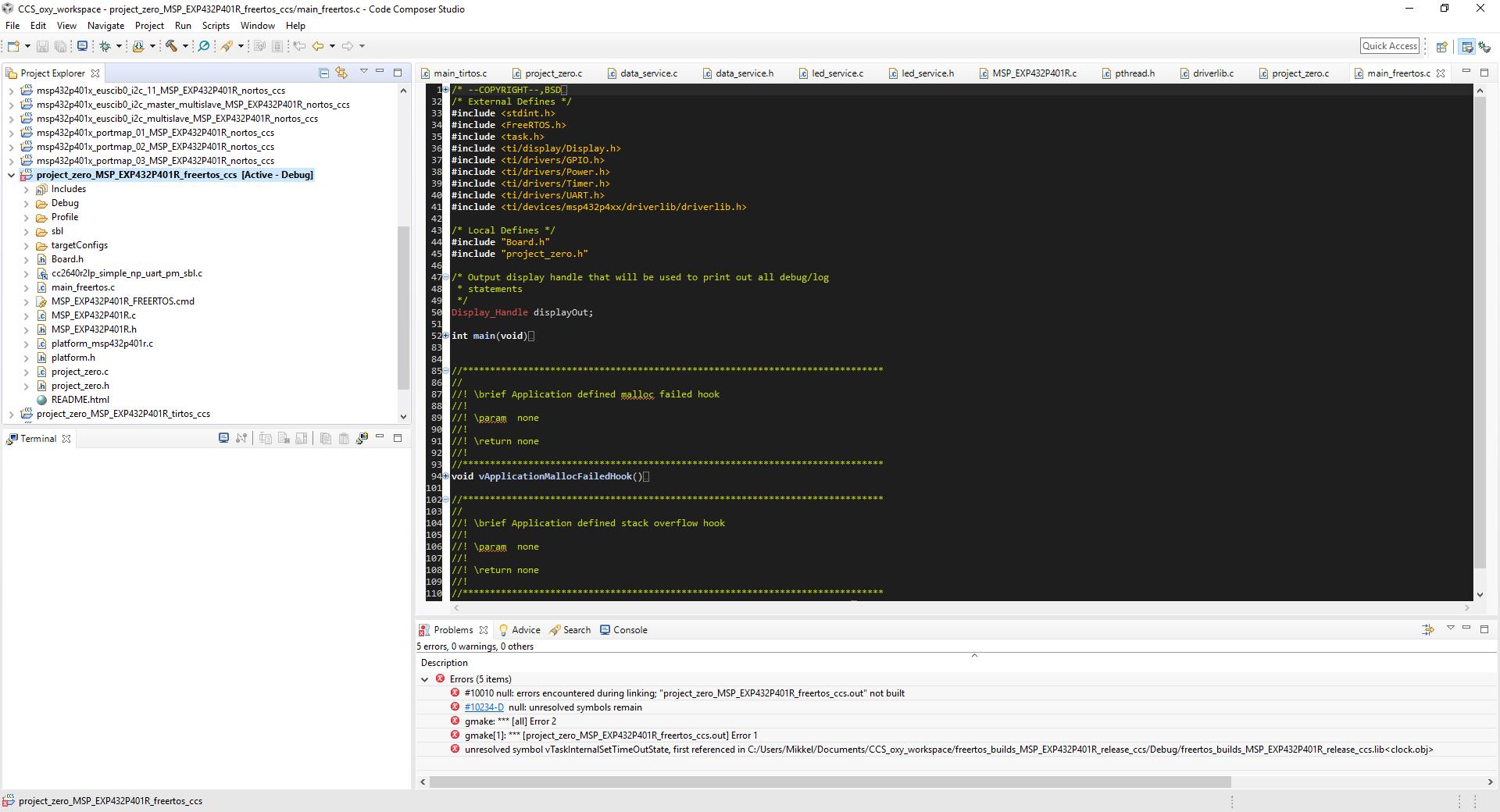 Resolved] CCS/BOOSTXL-CC2650MA: FreeRTOS SAP example is not
