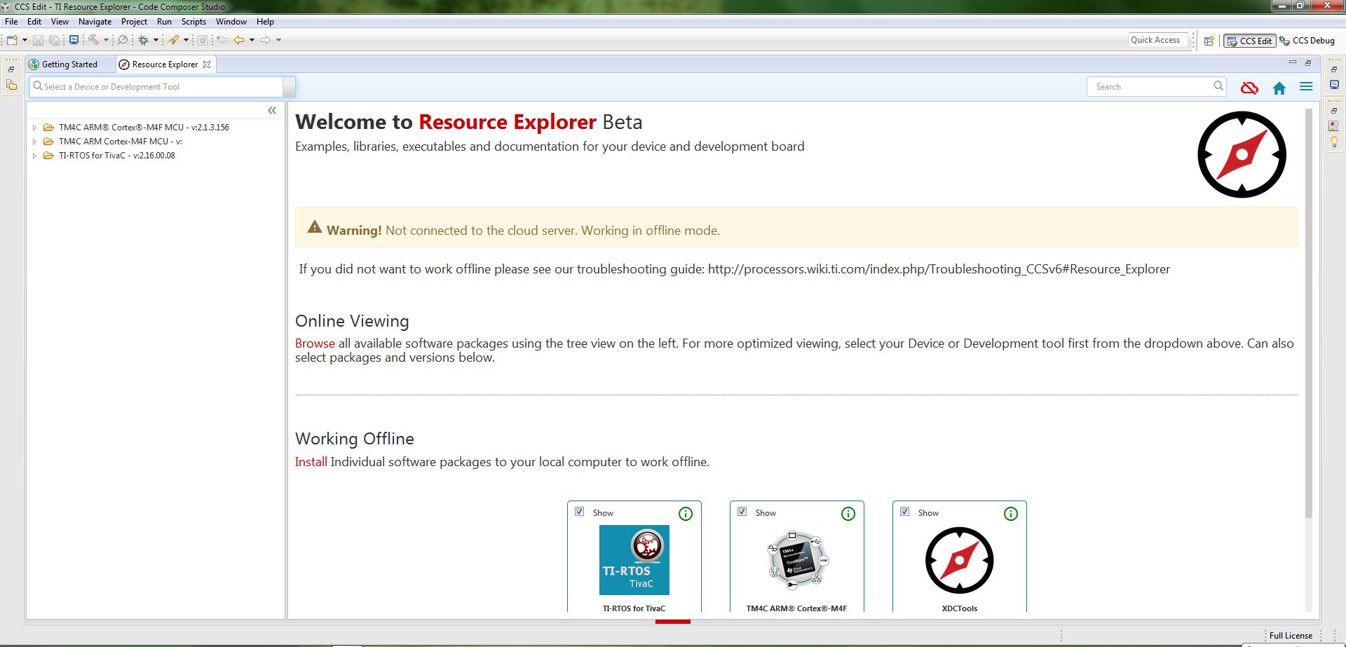 Resolved] CCS/TM4C129XNCZAD: Resource explorer is empty even
