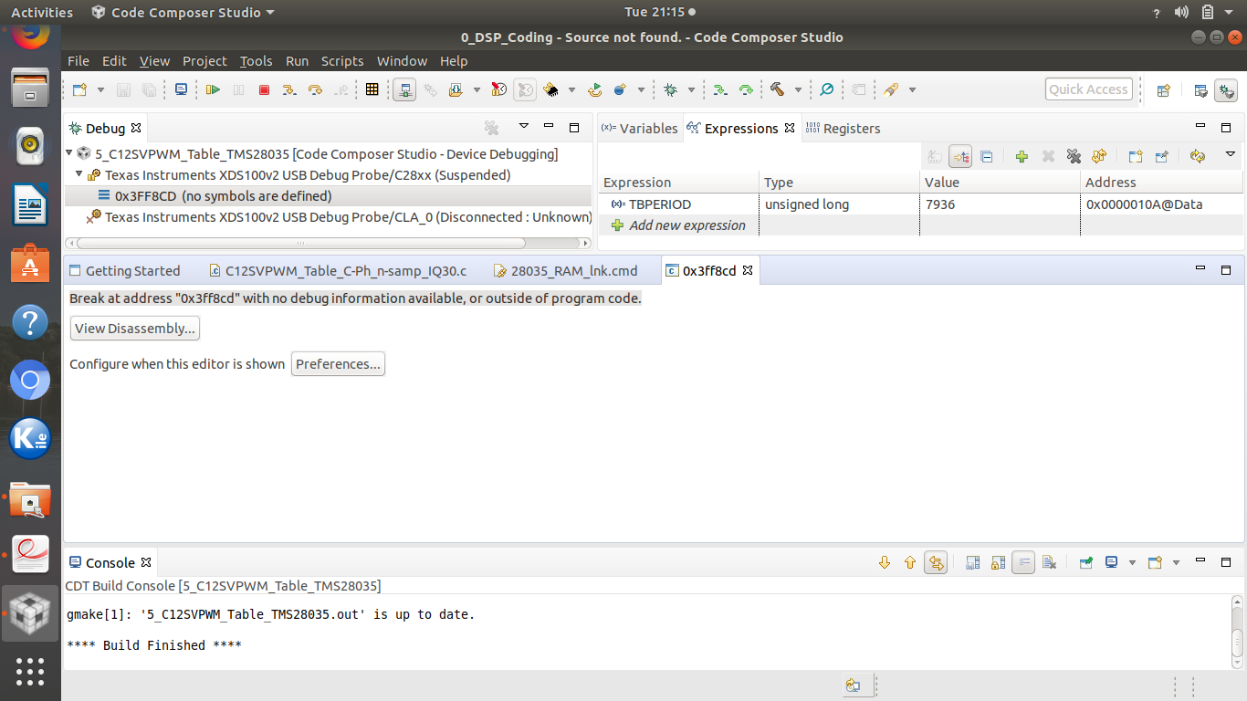 Compiler/TMS320F28035: Break at address