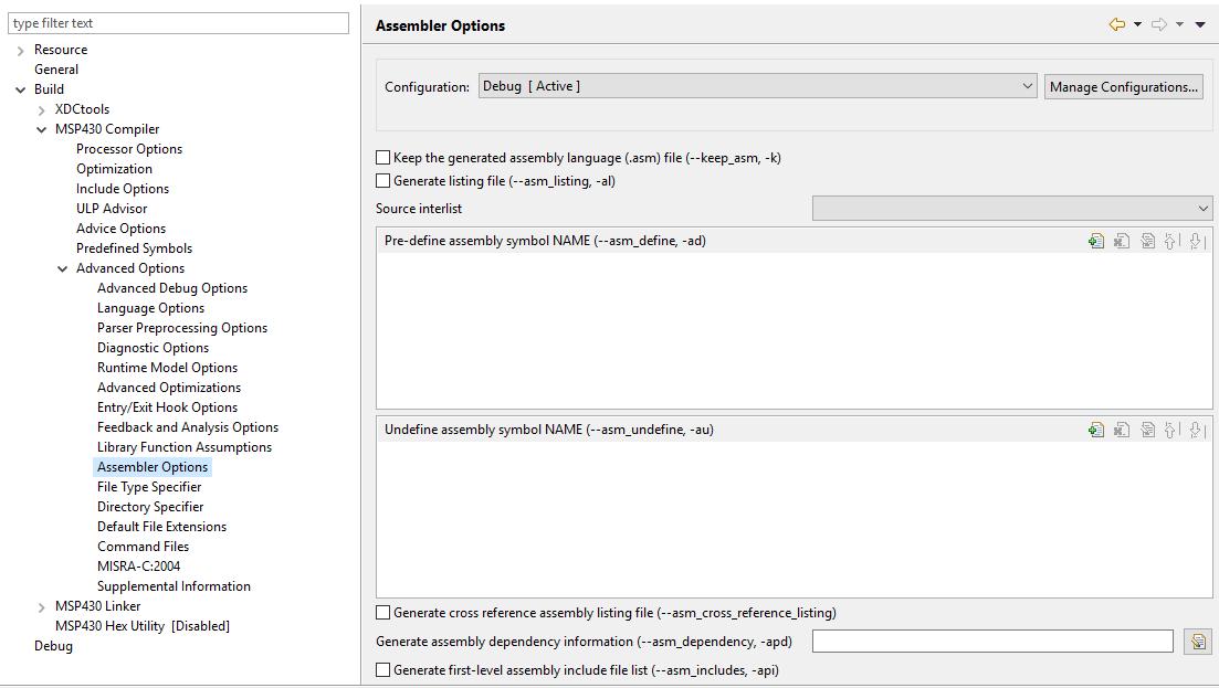 Resolved] CCS/AM5726: Generate assembler listing file - Code
