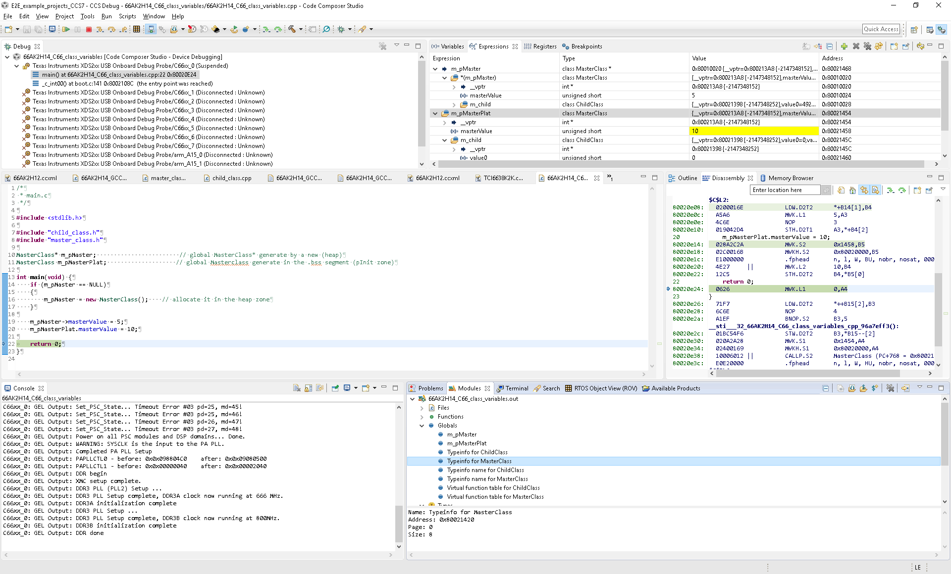CCS/66AK2H12: CCS debugging objects derived from virtual