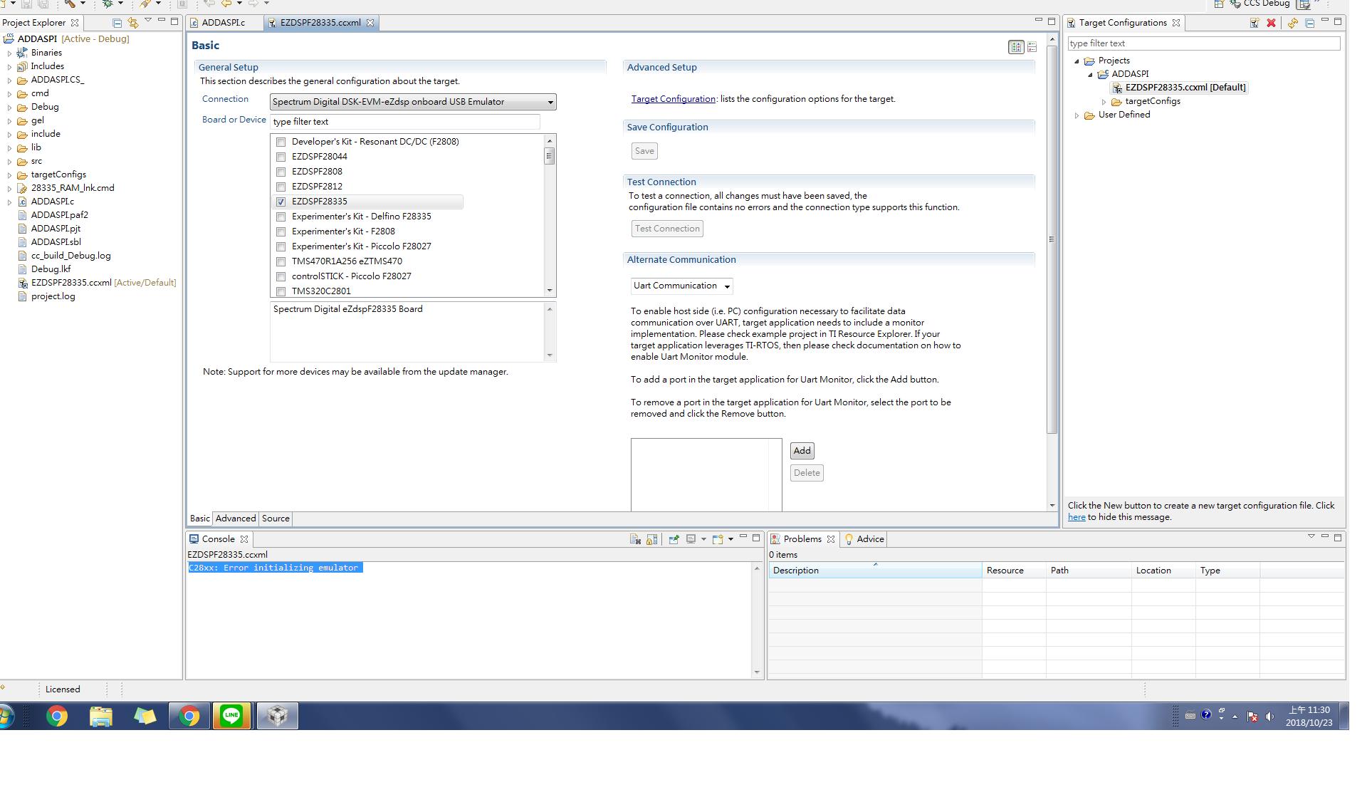 CCS: C28xx: Error initializing emulator - Code Composer Studio