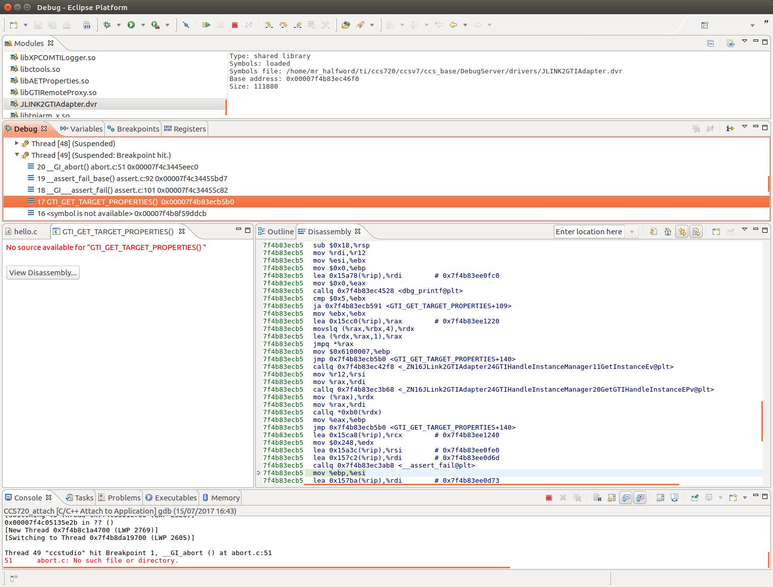 CCS/AM3352: CCS 7 2 0 00013 under Ubuntu 16 04 crashes with