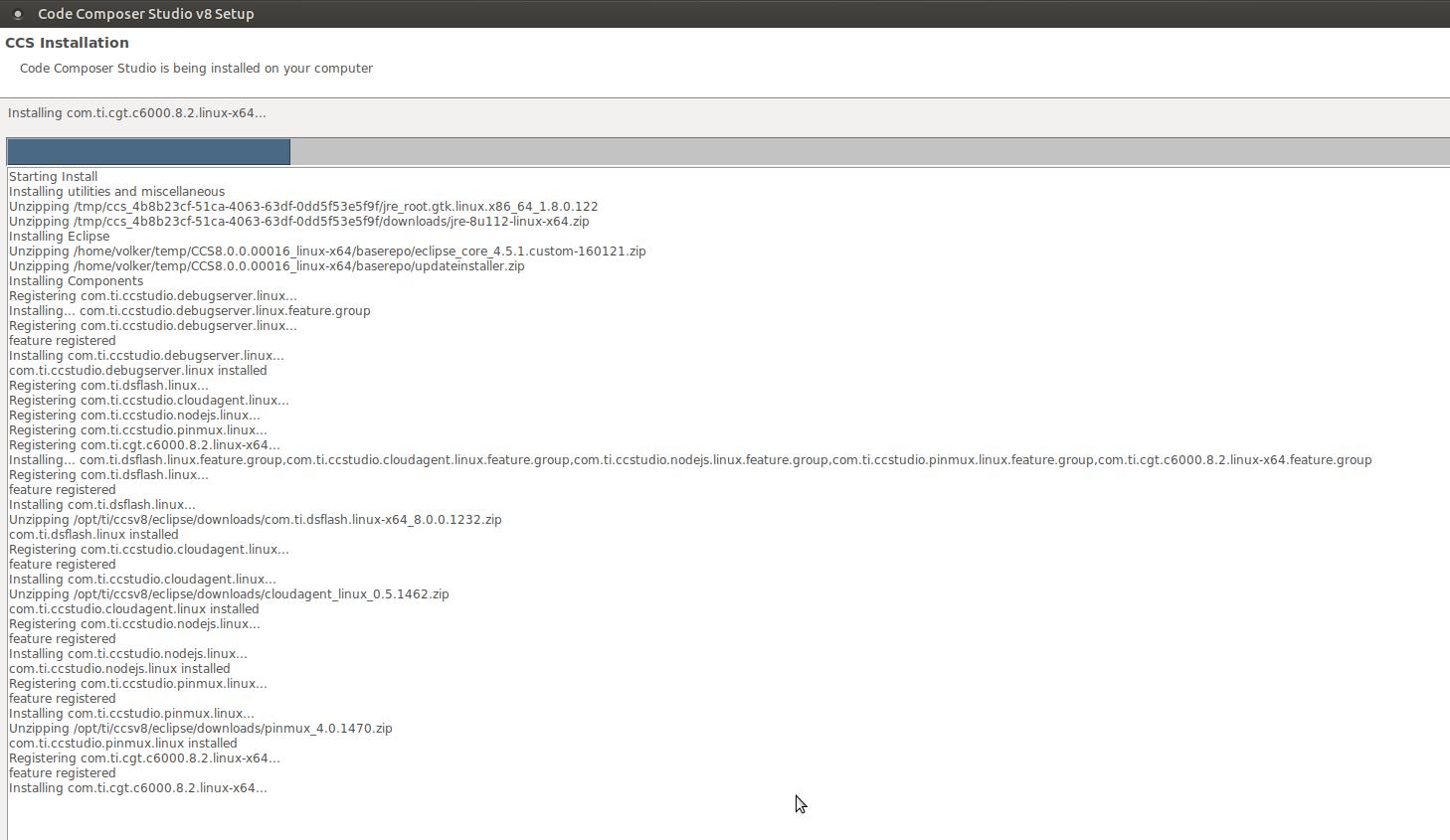 Resolved] CCS/CCSTUDIO: CCSv8 installation stuck for Ubuntu