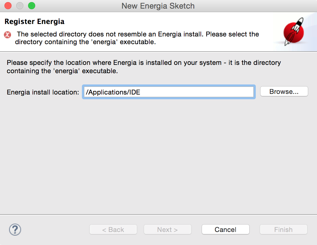 CCS 20.20 for Mac Energia location not recognised   Code Composer ...