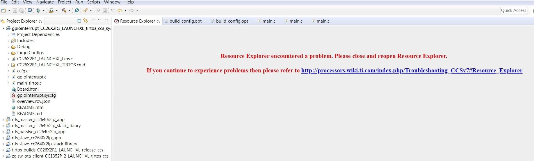 Resolved] CCS/CCSTUDIO: Resource Explorer encountered a