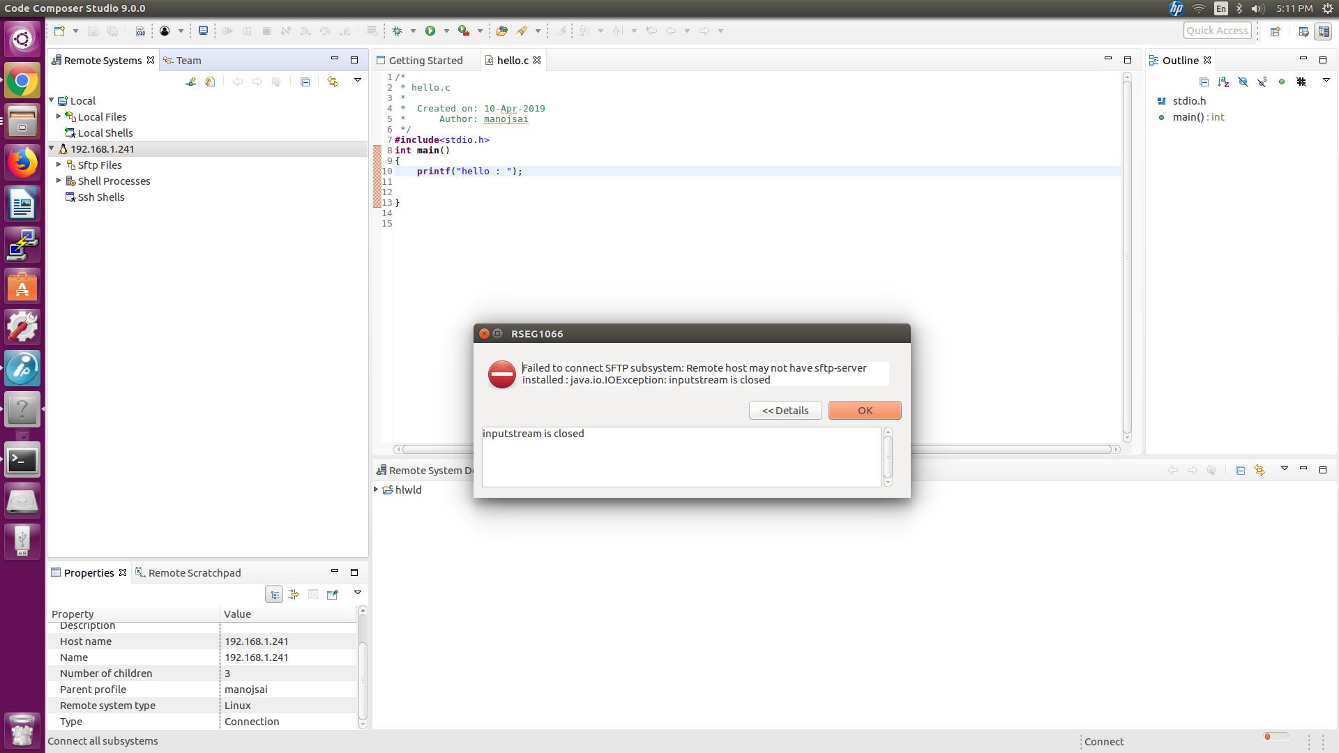 Resolved] CCS/BEAGLEBK: SFTP connect issue - Code Composer Studio