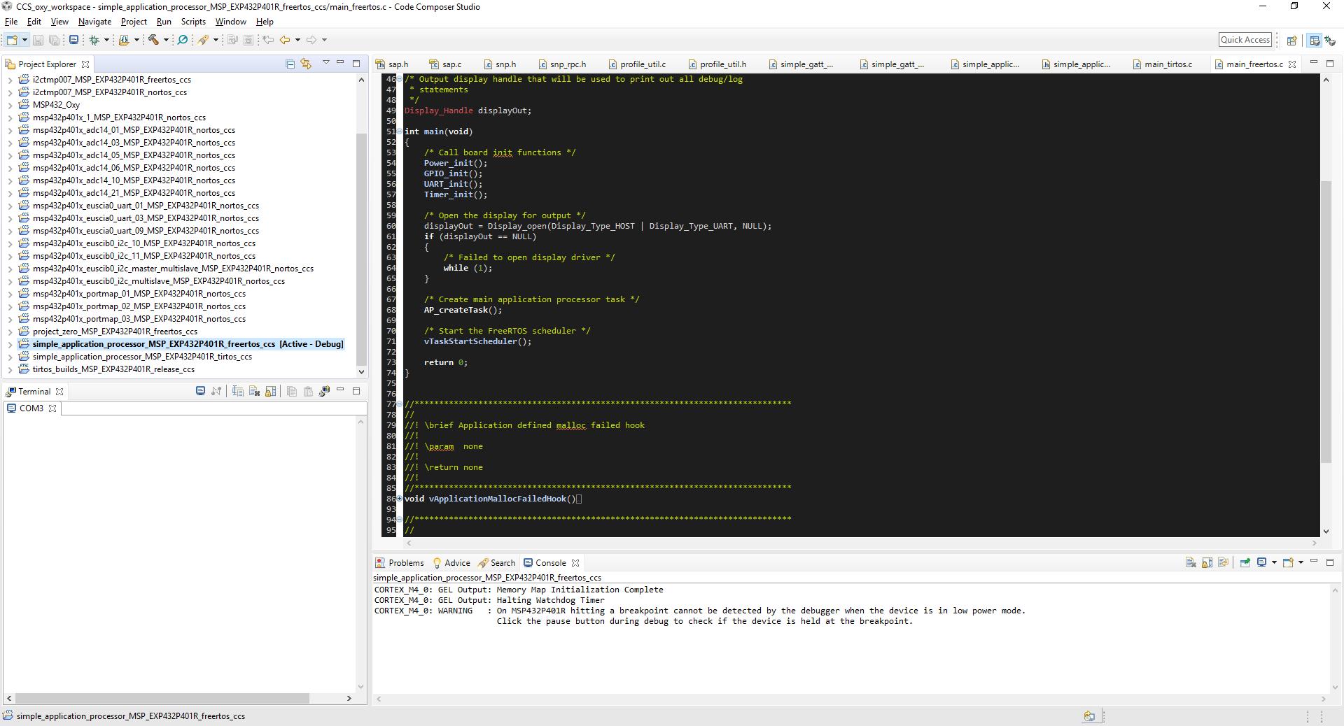 Resolved] CCS/BOOSTXL-CC2650MA: FreeRTOS SAP example is not running