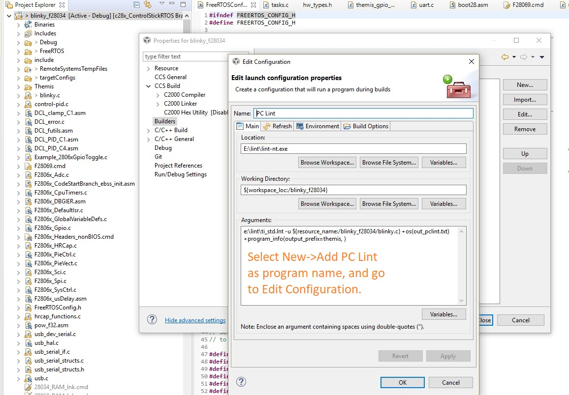 CCS/TMS320F28069: Using PC-Lint with CCSv8x - Code Composer