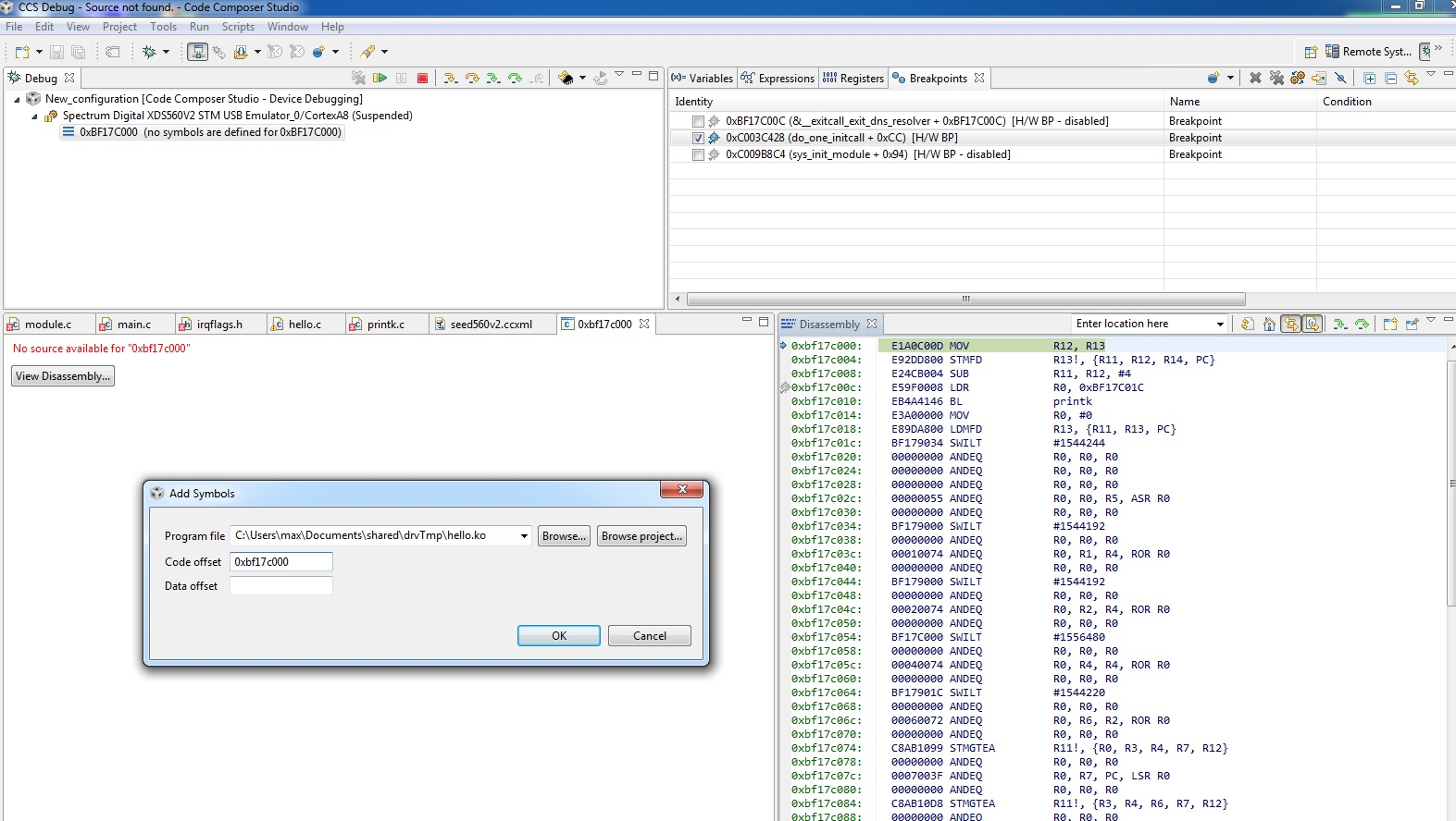 How To Correctly Load Debug Symbol Code Composer Forum Code