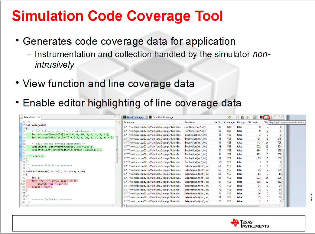 CCS/CCSTUDIO: code coverage in ccs 8 3 0 - Code Composer