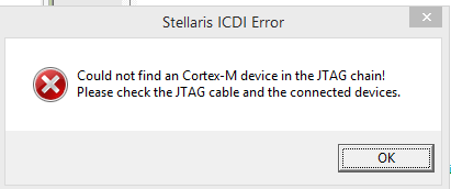 Resolved] Could not find an Cortex-M device in the JTAG