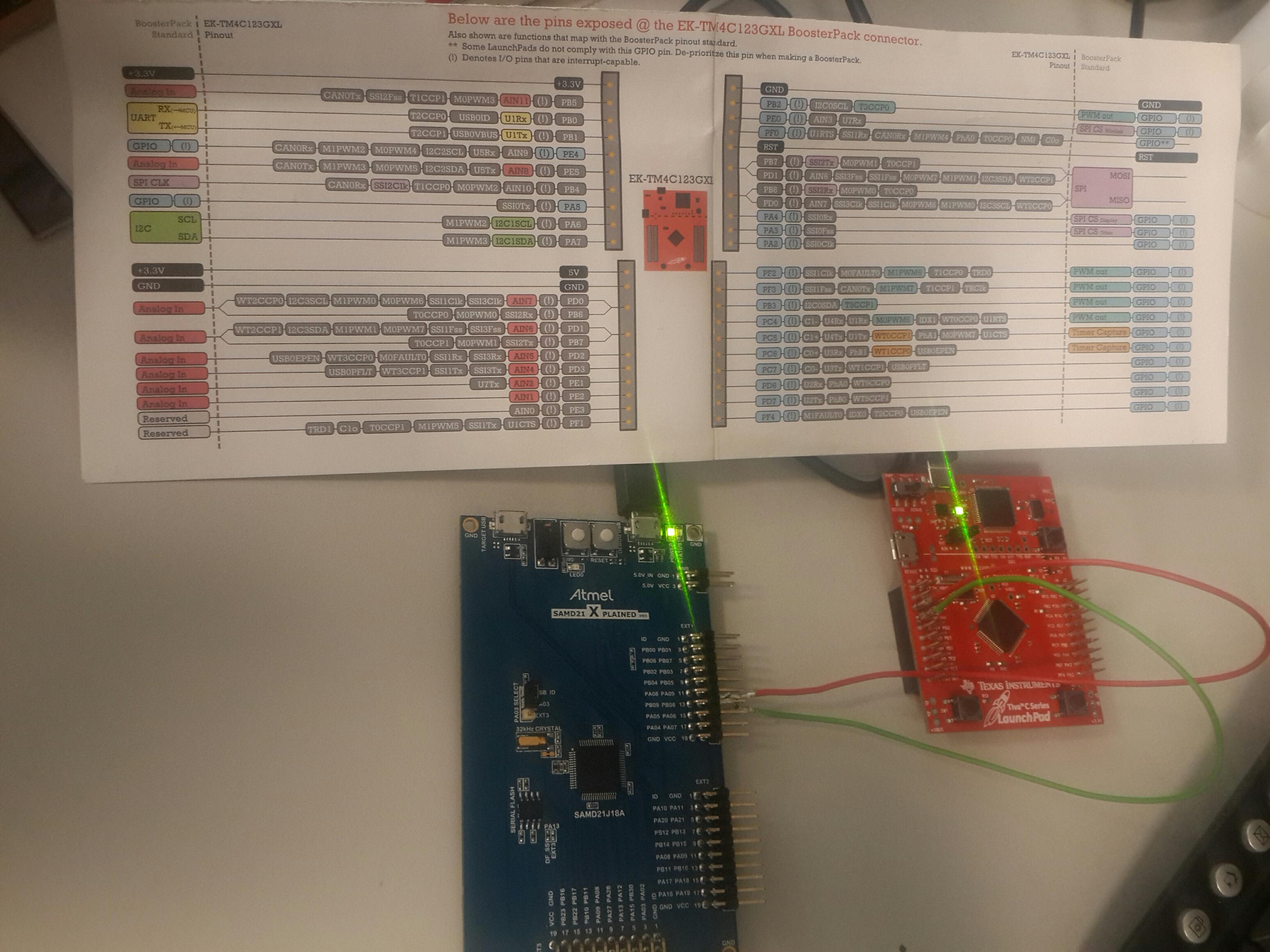 Communication problem between TM4C123 (UART) and SAMD21 Xplained Pro