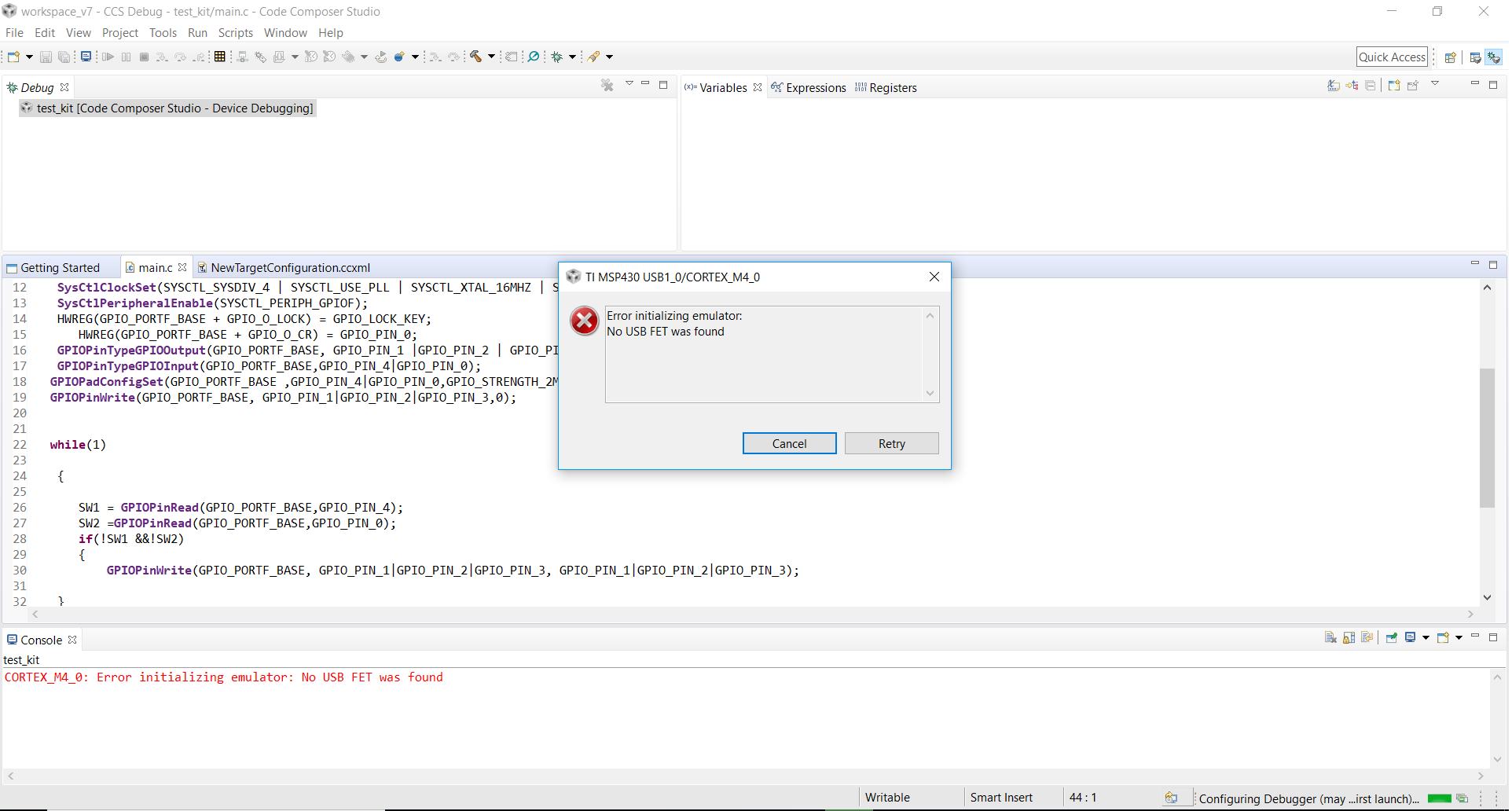 CCS/TM4C123GH6PM: Error initializing emulator: No USB FET was found