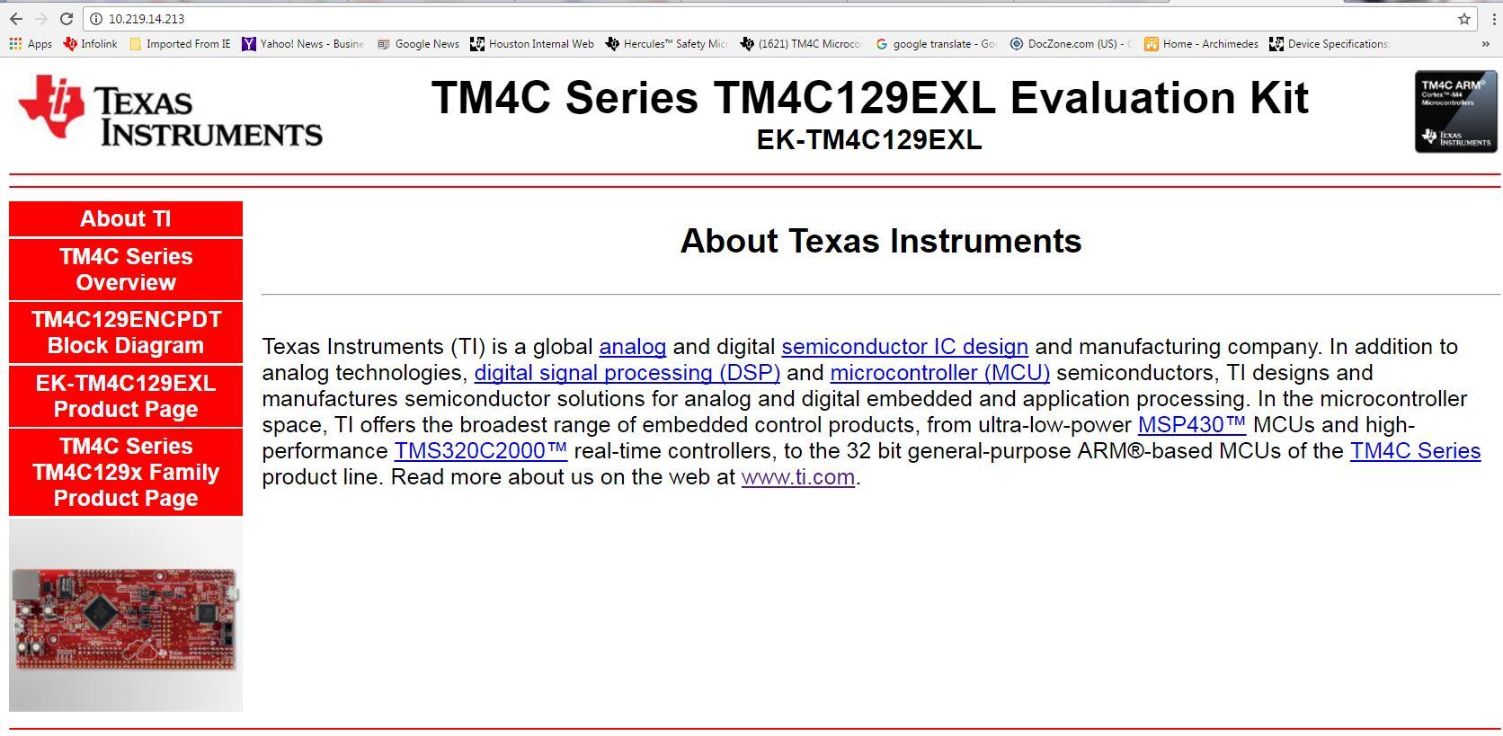 CCS/EK-TM4C1294XL: web development by using ethernet connected