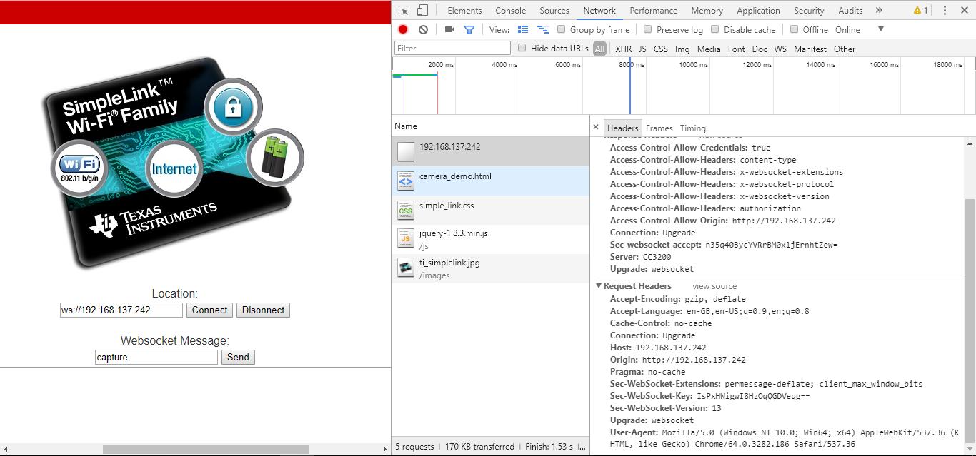 WebSock Camera SDK Example - Wi-Fi forum - Wi-Fi - TI E2E Community