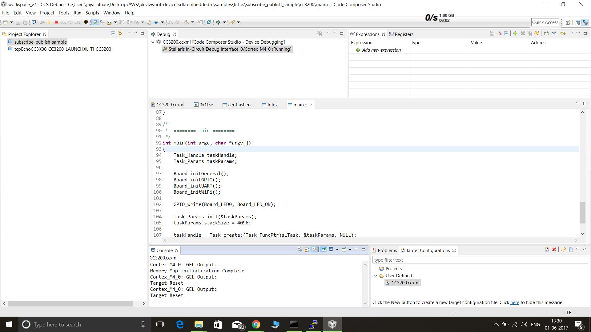 CCS/CC3200-LAUNCHXL: AWS IOT sample code - Wi-Fi forum - Wi-Fi - TI