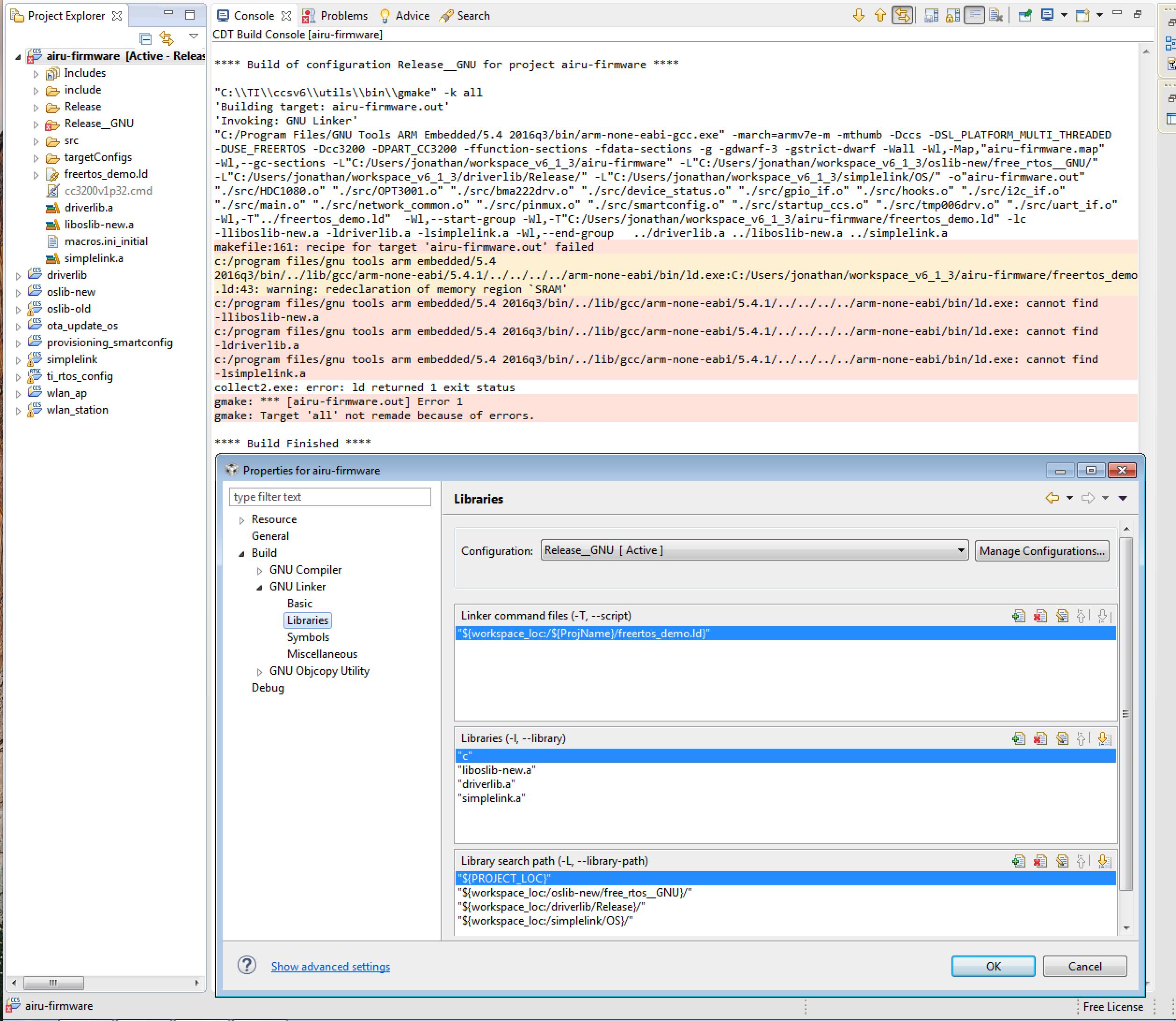 Resolved] GCC - Linking in oslib, driverlib, and simplelink