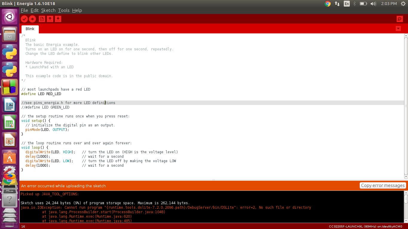 Linux/CC20SF LAUNCHXL Energia IDE