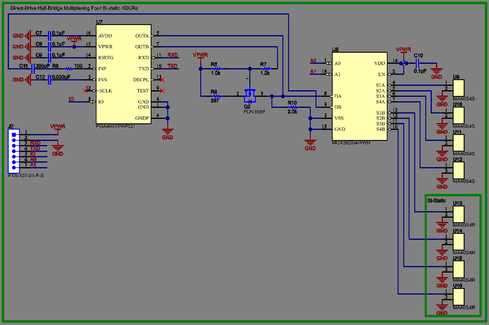 Ultrasonic Transducer Driver Schematic Wiring Diagrams Ultrasound Generator Schematicultrasonic Schematics Pga460 Q1 Multiplexing In Half Bridge Circuit