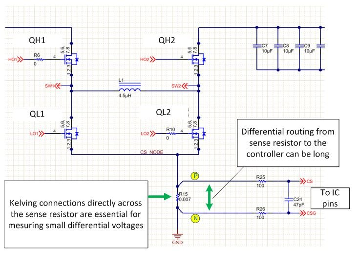 Figure 1: An LM5175 Schematic Showing Differential Sense Connection From  Power Stage To The Controller Pins.