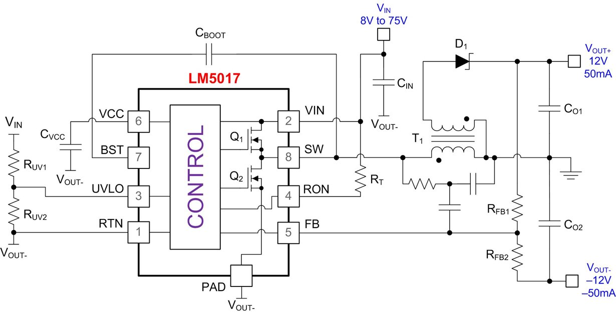 powering bipolar rails with wide-vin fly-buck converter - power management