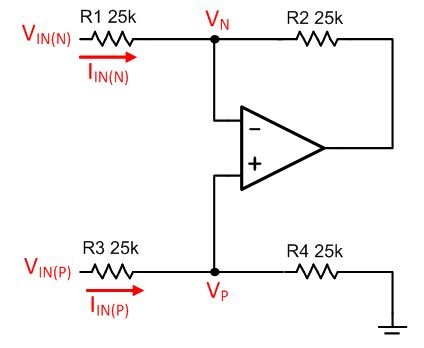 Relevant voltages and currents for the effective input resistance analysis of a difference amplifier