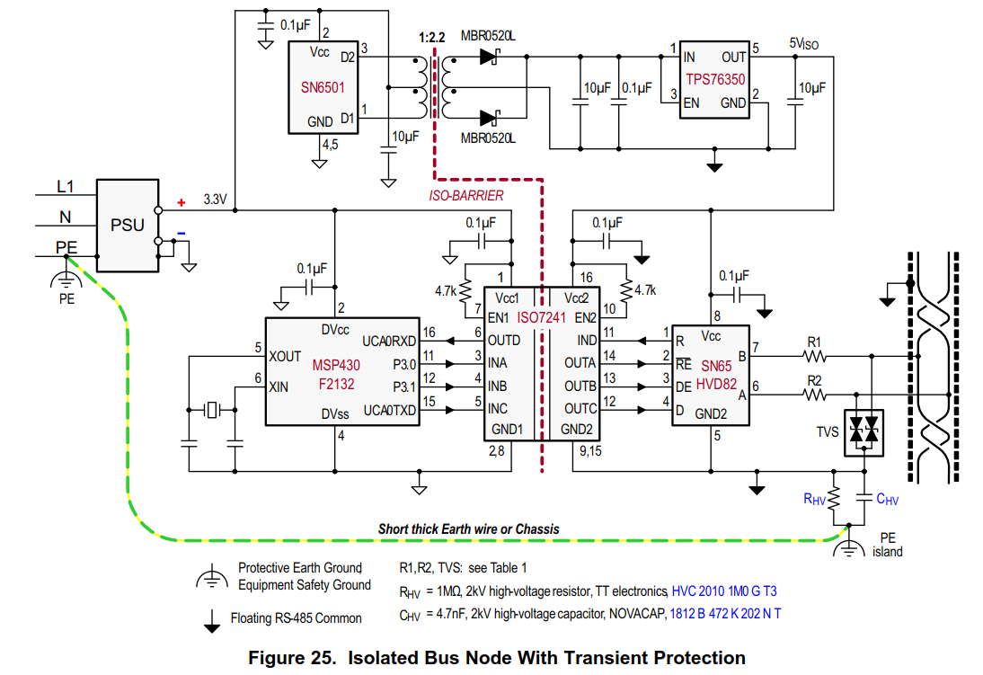 SN65HVD82: How to handle ESD protection for isolated RS-485 circuit in DC  system ?