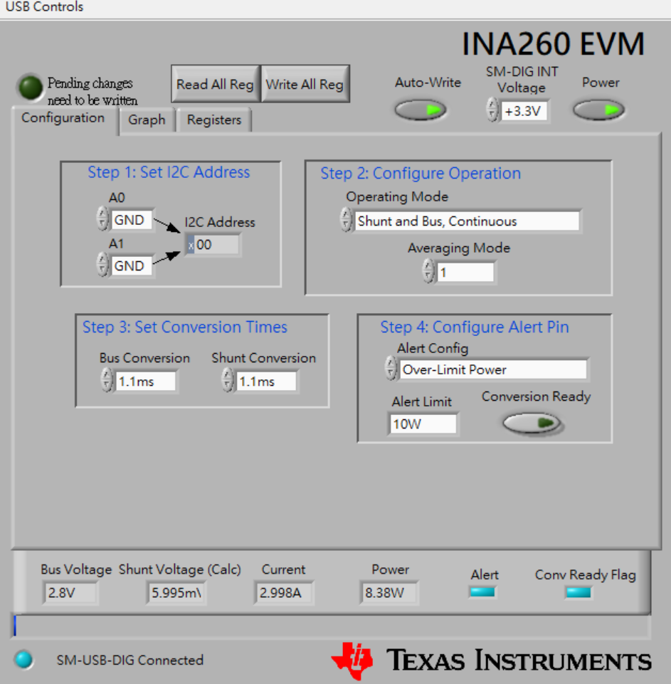 INA260EVM: INA260-EVB power over limit setting - Amplifiers forum
