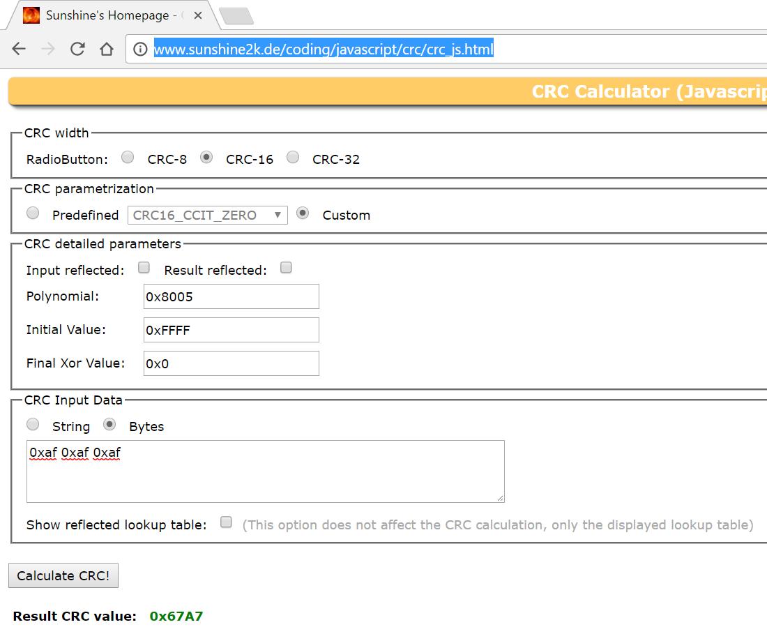 Resolved] CC1120: 16Bit CRC Calculator - Sub-1 GHz forum