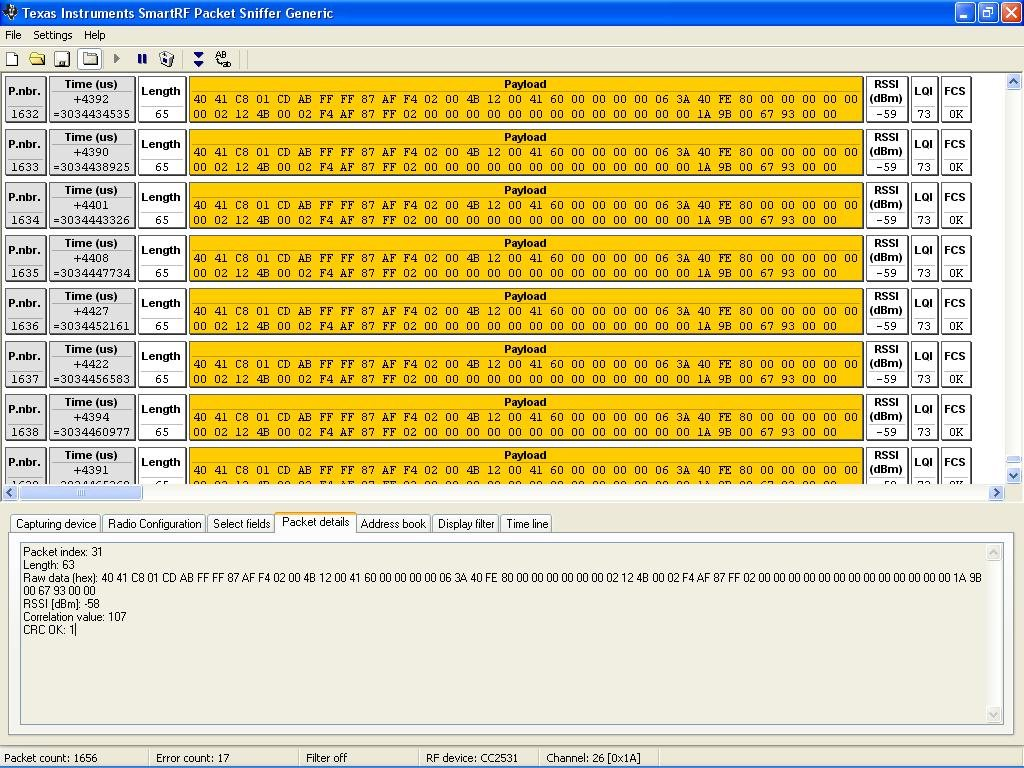 6lowpan cc2538 packet sniffing - Zigbee & Thread forum - Zigbee