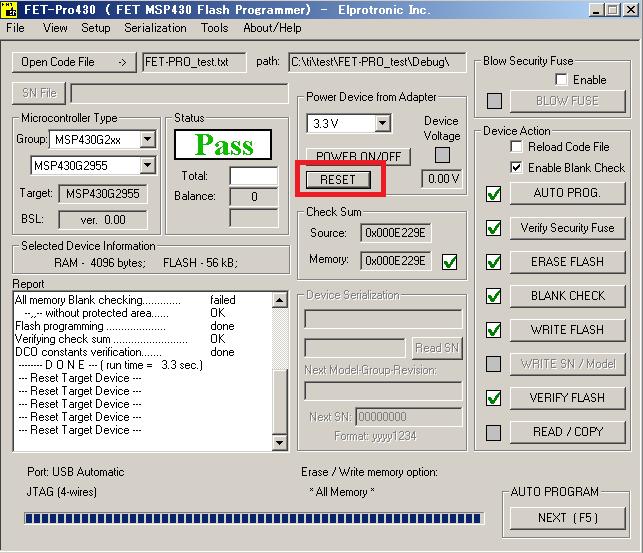 Different behavior in FETPro430-Lite each version - MSP low-power