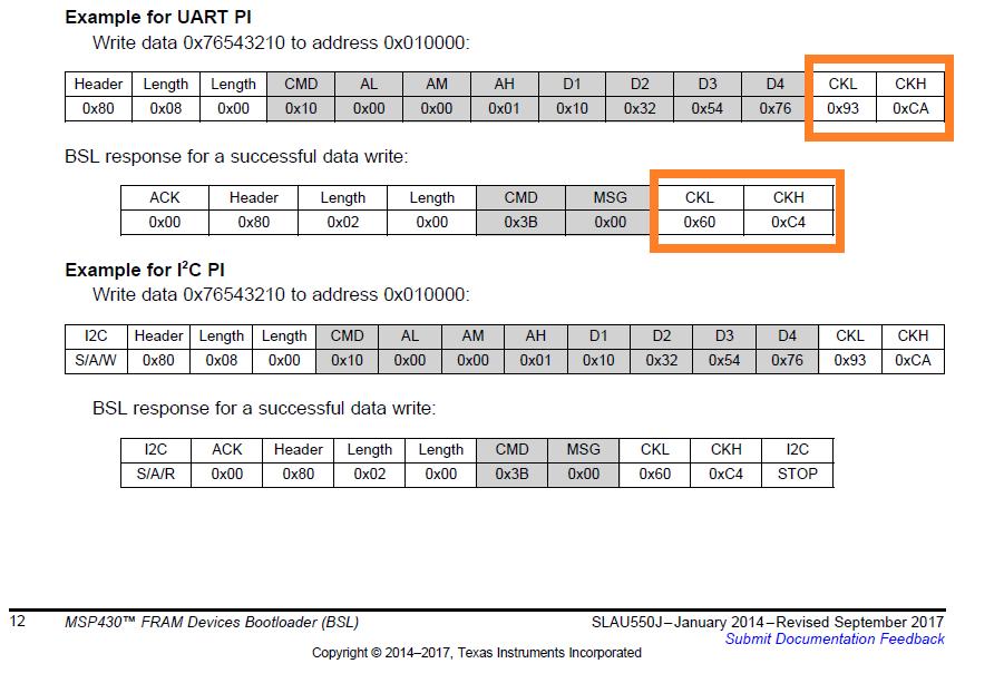Resolved] MSP430FR2033: A formla to obtain BSL checksum CKL
