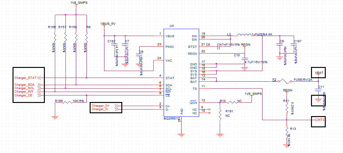 BQ25601D: BQ25601D In the current schematic hardware test ... on