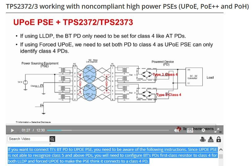 Resolved] Can TPS2373 work with UPoE PSE? - Power management