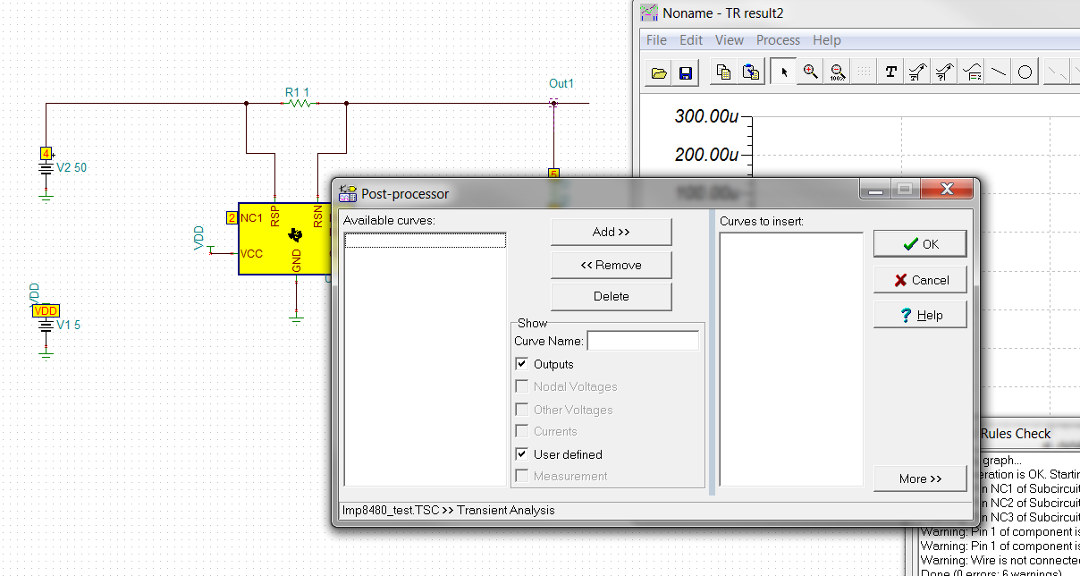 TINA/Spice/LMP8480: Simple simulation not working