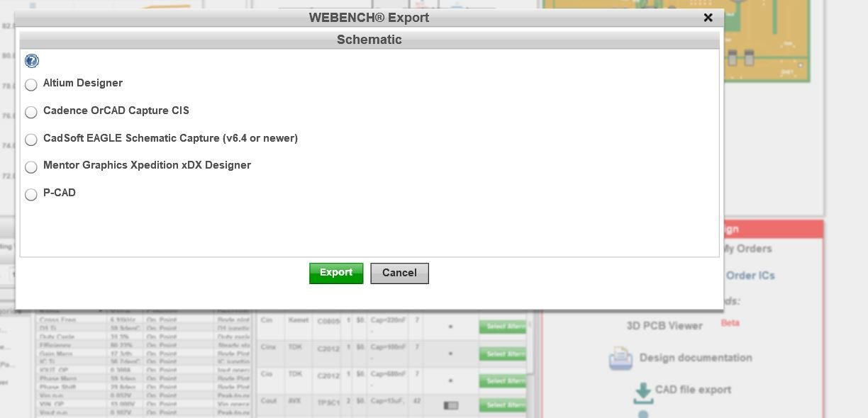 WEBENCH® Tools: Cannot export PCB layout design. Schematic available ...