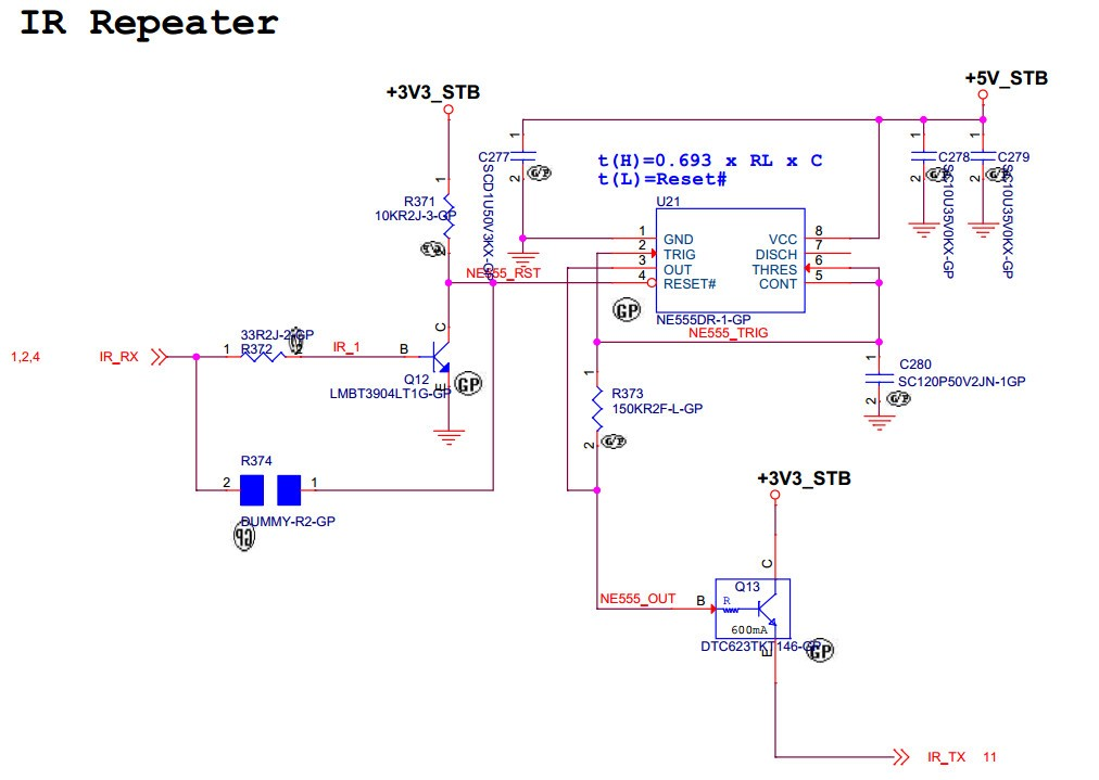 NE555: Schematic for IR TX/RX on/off control - Clock ... on