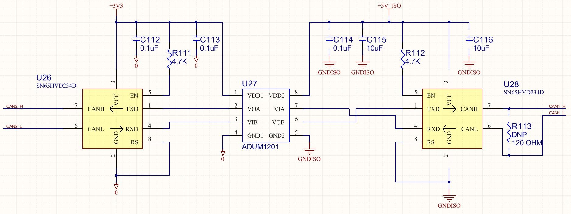 Signal Isolation Circuit : Resolved can differential signal isolation using two