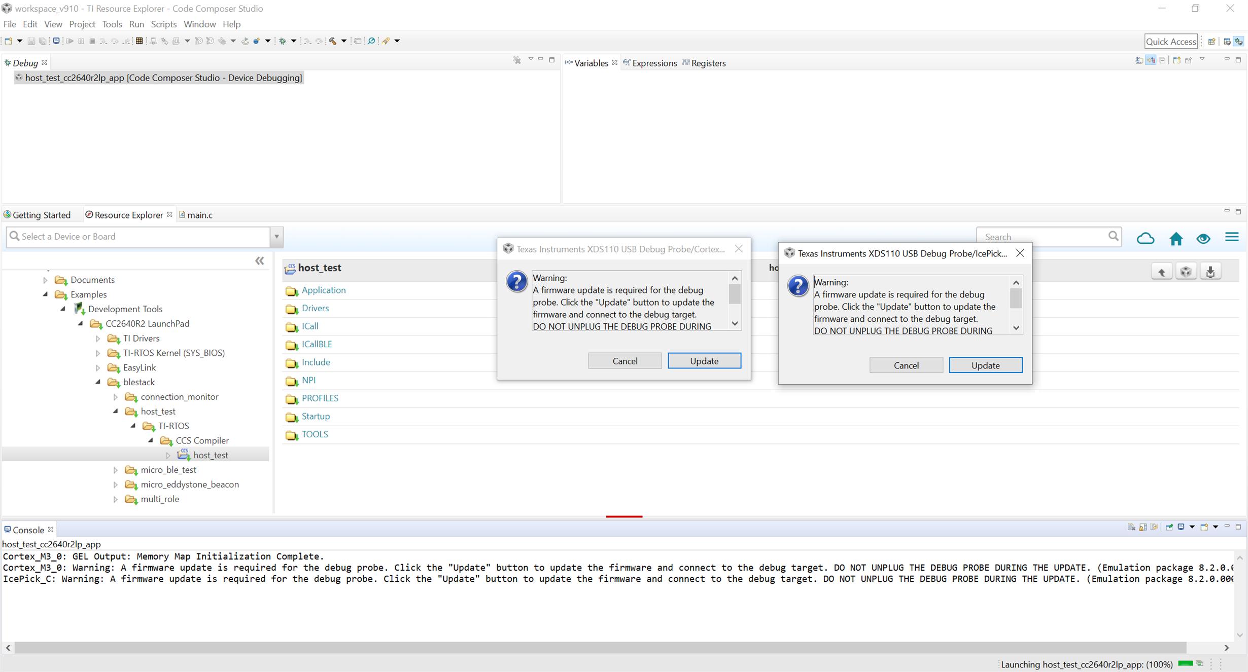 CCS/LAUNCHXL-CC2640R2: Update XDS100 firmware then Load program