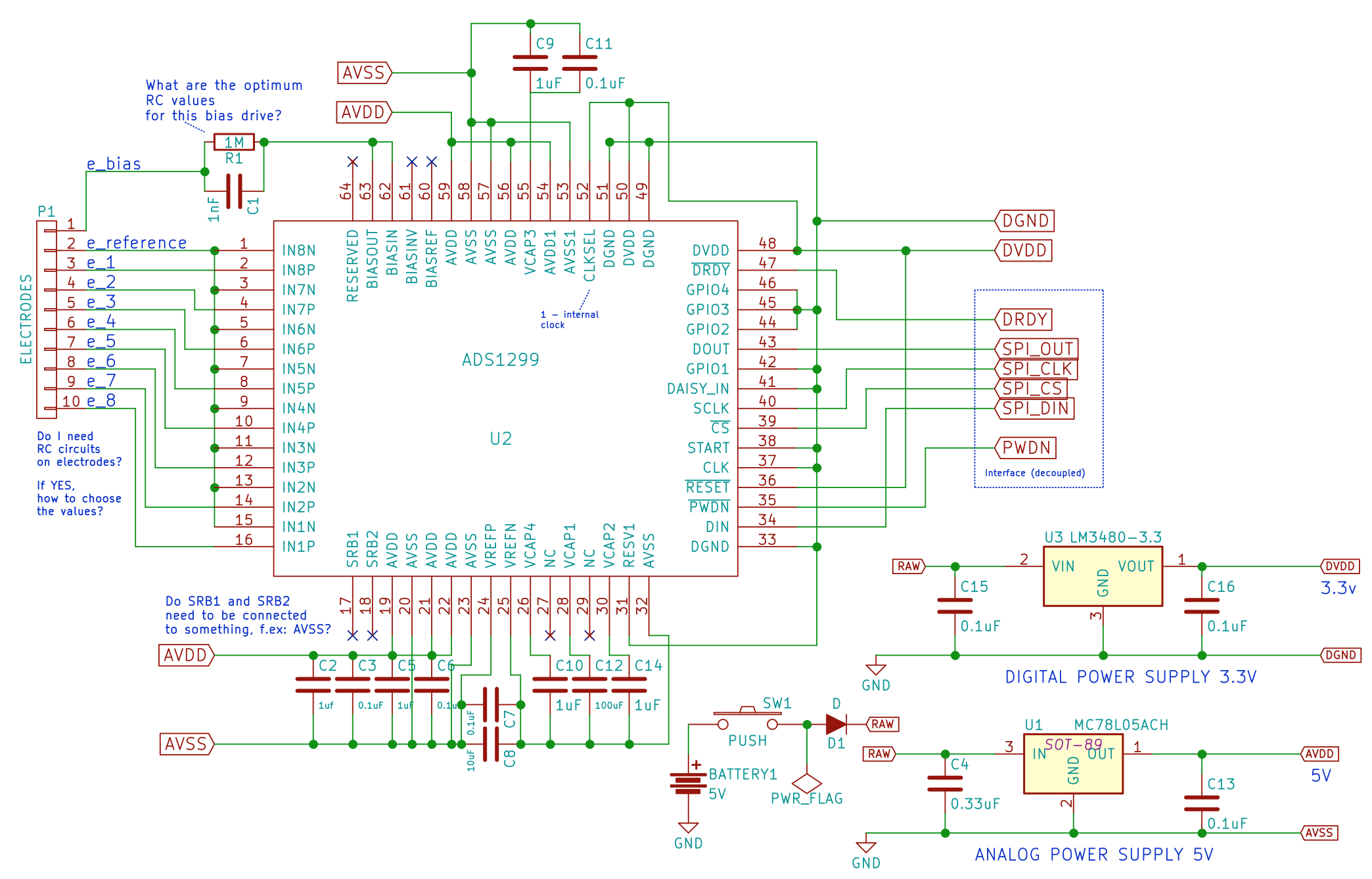 ADS1299 140dB CMRR analog front-end schematics design